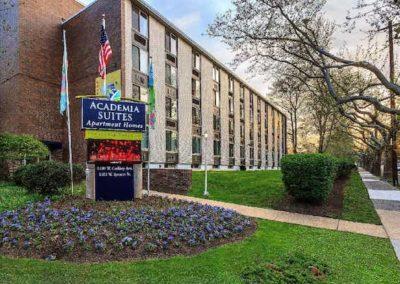 Exterior view of Academia Suites apartments for rent in East Oak Lane, Philadelphia, PA