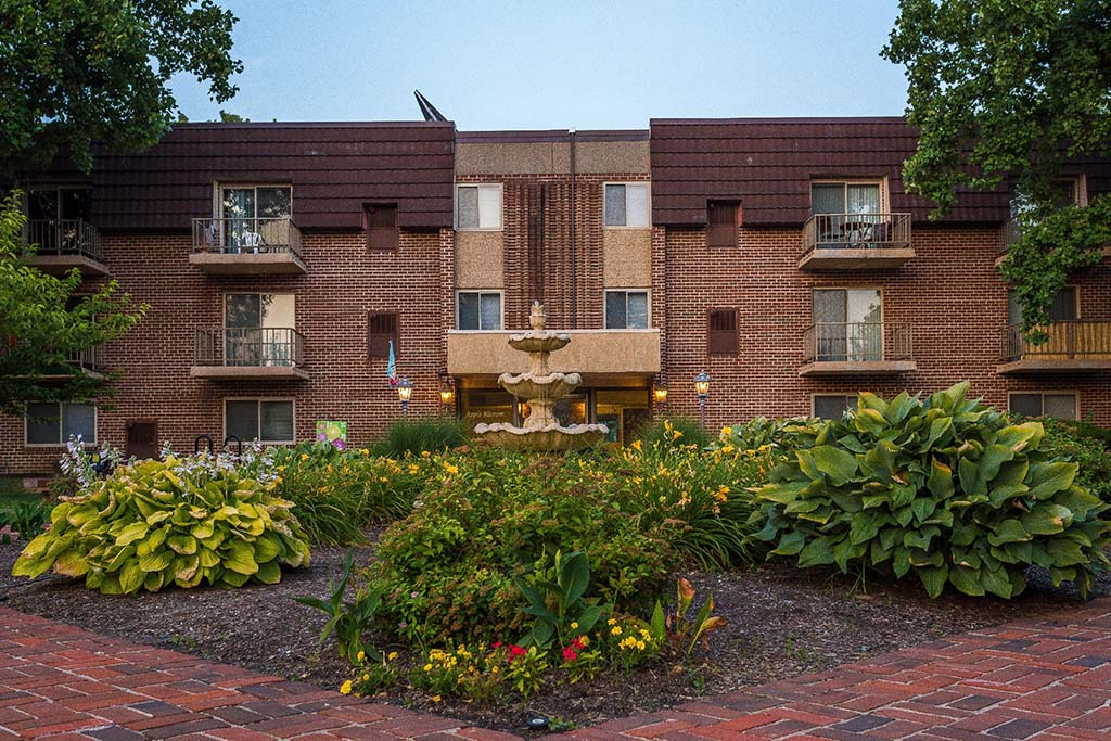 Exterior view of residential buildings at Fountain Gardens apartments for rent in Philadelphia, PA