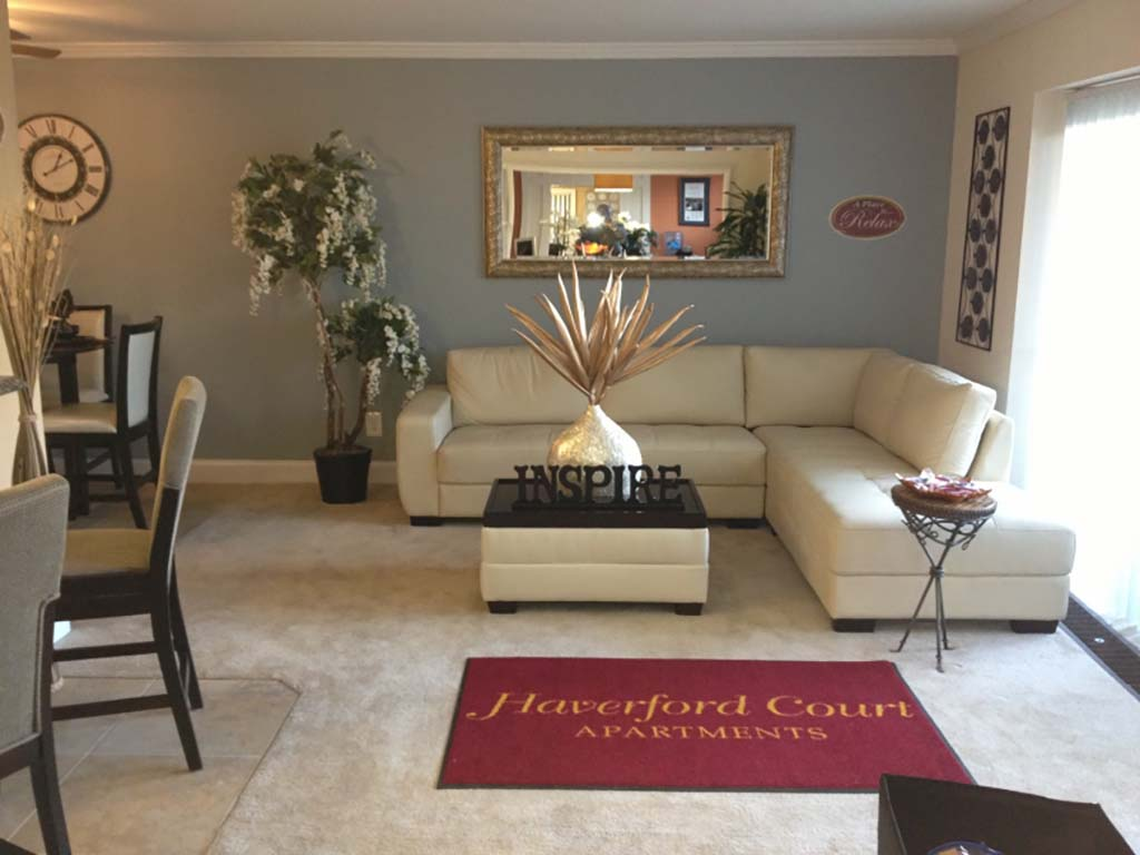 Entrance to Haverford Court apartments for rent in Philadelphia, PA