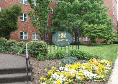 Exterior view of residential buildings at Gateway Towers at Packer Park apartments for rent