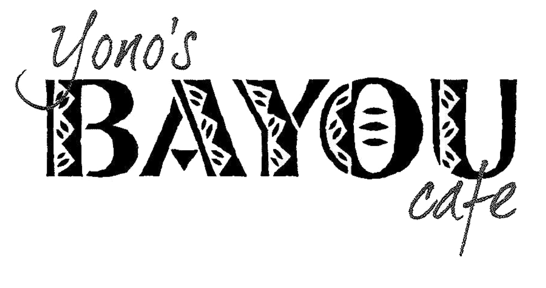 Logo of Yono's Bayou cafe in black letters