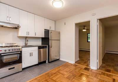 2-bedroom floor plan layout with updated kitchen and open concept living/dining room at Sedgwick Terrace apartments for rent in West Mt. Airy, Philadelphia, PA