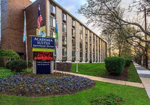 Exterior view of Academia Suites apartments for rent in East Oak Lane, Philadelphia, PA