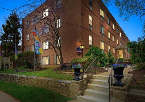 Welcome entrance to Eola Park apartments for rent in Philadelphia, PA