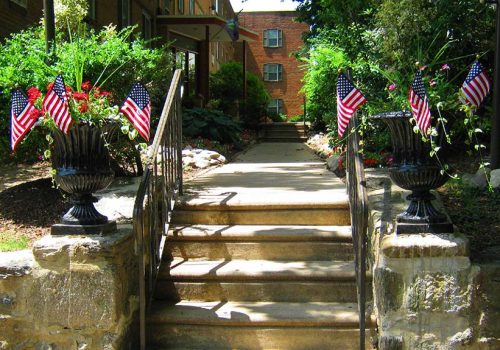 Entrance to a residential building at Eola Park apartments for rent in Philadelphia, PA