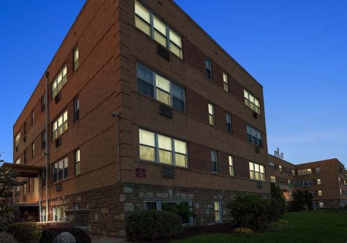 Exterior of residential buildings at Mt Airy Place apartments for rent in Philadelphia, PA