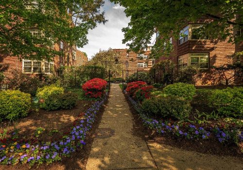 Beautifully landscaped entrance surrounded by flowers at Sedgwick Gardens apartments for rent